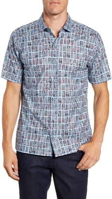 Tori Richard Block Tiles Regular Fit Short Sleeve Button-Up Shirt