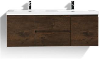 "Bathroom Vanity Wholesale MOB 60"" Double Sink Wall Mounted w/ Reinforced Acrylic Sink, Black, Ro"