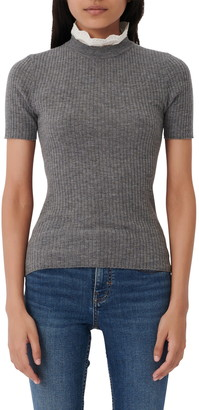 Maje Embroidered Collar Short Sleeve Wool Sweater