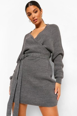 boohoo Rib Knit Batwing Mini Dress