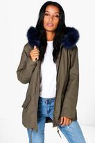 boohoo Boutique Esme Faux Fur Collar Parka navy