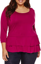 Boutique + Boutique+ 3/4-Sleeve Peplum Knit Top - Plus