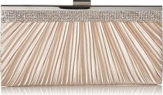 Jessica McClintock Women's Laura Rhinestone Satin Clutch Evening Purse Handbag