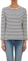 Saint Laurent Women's Distressed Striped Top-NAVY, WHITE