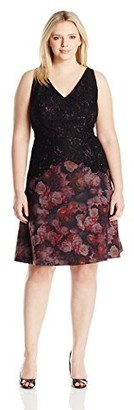 Adrianna Papell Women's Size Halter Cut Lace Top Fit and Flare Plus Pink/Multi 18W