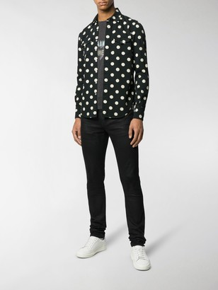 Saint Laurent Slim Western Polka Dot Shirt