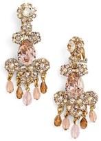 Oscar de la Renta Women's Crystal Flower Chandelier Earrings
