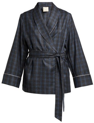 Morpho + Luna Amelie Checked Wool Robe - Grey Print