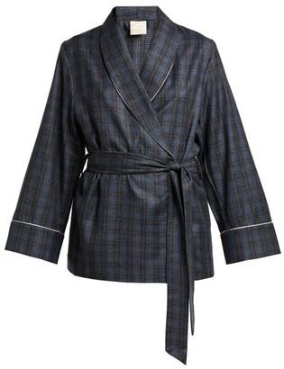 Morpho + Luna Amelie Checked Wool Robe - Womens - Grey Print