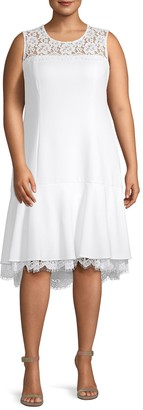 Calvin Klein Collection Plus Lace A-Line Dress