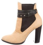 Elizabeth and James Ponyhair Round-Toe Ankle Boots