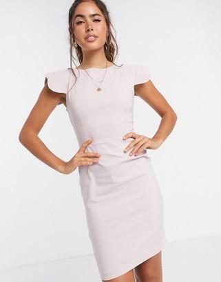 Vesper Poppy scalloped sleeve mini dress lilac