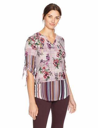 One World ONEWORLD Women's 3/4 Sleeve Notch Neck Printed Blouse