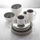 Crate & Barrel Jars Tourron Grey 16-Piece Dinnerware Set