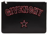 Givenchy Logo Print Leather Pouch - Black