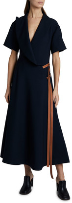 Loewe Short-Sleeve Wrap Dress with Leather Straps