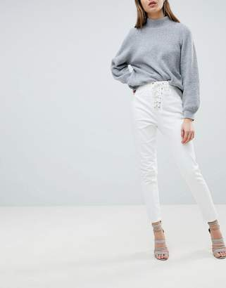Ivyrevel Jean with Lace Up Front-White