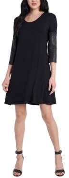 MSK Faux-Leather-Sleeve Ponte-Knit Shift Dress