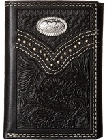 M&F Western - Embossed Floral Oval Concho Tri-Fold Wallet Wallet Handbags