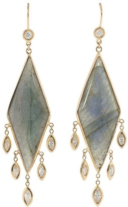 Jacquie Aiche 14kt Rose Gold Diamond Triangle Drop Earrings