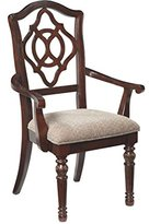 Signature Design by Ashley Ashley Furniture Signature Design - Leahlyn Dining Room Chair with Arms - Old World Traditional Design - Set of 2 - Reddish Brown