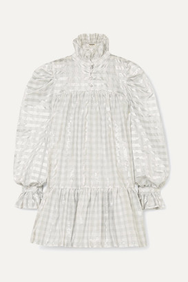 Avavav AVAVAV - Ruffled Metallic Gingham Poplin Mini Dress - Silver