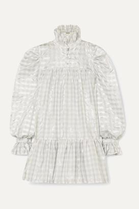 AVAVAV Ruffled Metallic Gingham Poplin Mini Dress - Silver