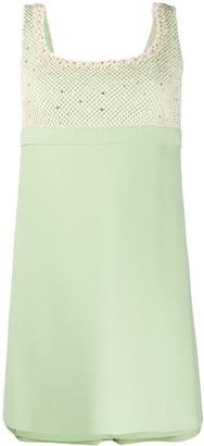 Miu Miu Crystal And Pearl Embellished Mini Dress