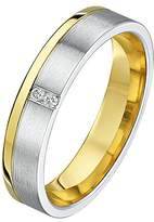Theia His & Hers 14ct Yellow and White Gold Two-Tone 6mm Grooved Wedding Ring - Size S