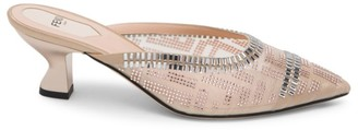 Fendi Colibri Crystal-Embellished Mesh Mules
