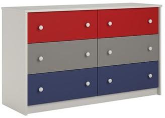 Ameriwood Home Kaleidoscope Kids 6 Drawer Dresser, Classic