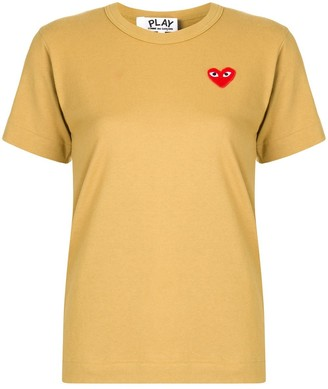 Comme des Garcons embroidered heart patch slim fit T-shirt