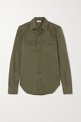 Saint Laurent Herringbone Cotton Shirt - Green