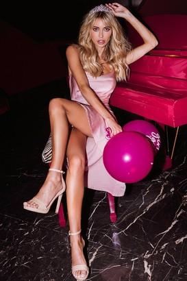 Verity Pink Satin Midi Slip Dress