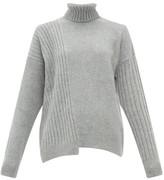 Falke Roll-neck Asymmetric-hem Wool-blend Sweater - Womens - Grey