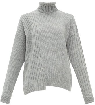 Falke Roll-neck Asymmetric-hem Wool-blend Sweater - Grey