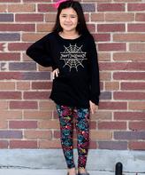 Beary Basics Black 'Happy Halloween' Tunic & Skull Leggings - Toddler & Girls