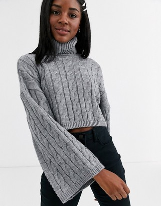 New Look roll neck wide sleeve cable jumper in grey