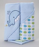 SpaSilk Blue Whale Hooded Towel & Washcloth Set