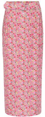 BERNADETTE Monica floral stretch-jersey midi skirt