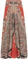 Etro Printed Silk Crepe De Chine Maxi Skirt - Coral