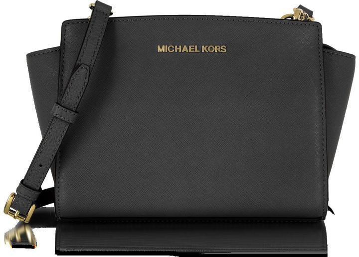 Michael Kors Selma Medium Black Saffiano Leather Messenger