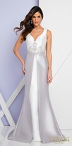 Terani Couture Color Blocked Damask Lace Cowl Evening Dress