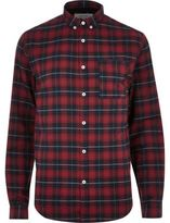 River Island MensRed casual check shirt