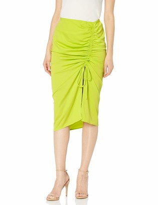 J.o.a. Women's Slim Woven Rouching Midi Pencil Skirt with Slit