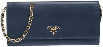 Prada Blue Saffiano Lux Leather Metal Oro Chain Wallet