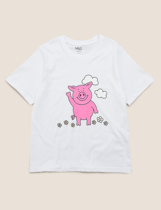 Marks and Spencer Pure Cotton Percy Pig T-Shirt (2-16 Yrs)