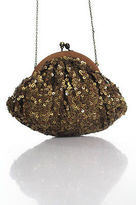 Santi Brown Sequined Strap Included Clasp Closure Tiny Evening Clutch Handbag