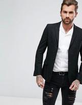 Asos Skinny Blazer In Black Neppy Fabric