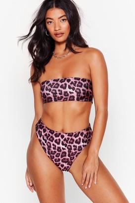 Nasty Gal Womens High-Leg to Differ Leopard Bikini Bottoms - Mauve